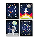 HPNIUB 4er Set Kinderzimmer Bild ,Weltraum Bilder,Alphabet