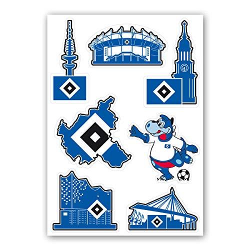 Hamburger SV HSV Aufkleber-Set Hamburg Sehenswürdigkeiten