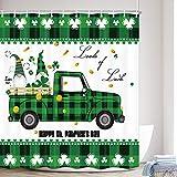 MERCHR St. Patrick's Day Duschvorhang, grüne Kleeblätter, süßer Zwerg auf rustikaler LKW, irischer Urlaub, Frühlingsstoff, Duschvorhang, Buffalo Karo, Badezimmer-Zubehör-Sets (175,3 x 177,8 cm)