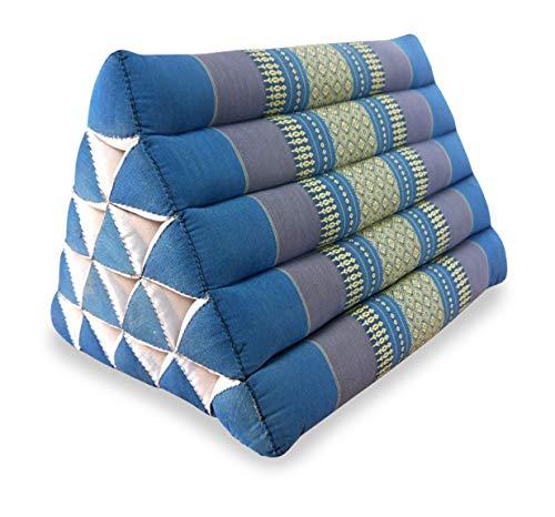 livasia Großes Dreieckskissen als Rückenstützkissen, Thaikissen BZW. Keilkissen, Nackenkissen fürs Bett (hellblau)