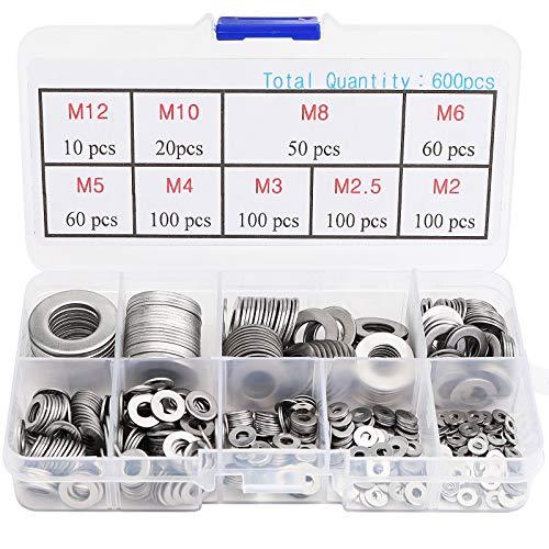 Arandela plana de 600 piezas - Juego de arandelas de acero inoxidable surtido, M2 M2.5 M3 M4 M5 M6 M8 M10 M12 Juego de arandelas de metal, arandela variada para pernos y tornillos