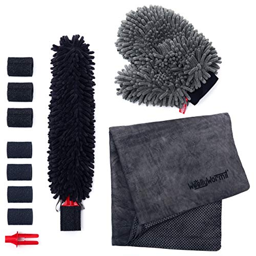 WOOLLYWORMIT Car Detailing Kit, Premium Auto Cleaning Supplies Bundle Includes Patented Car Wheel Brush with Integrated Lug Nut Cleaner, Chenille Wash Mitt W/Thumb Pocket and Large Microfiber Shammy