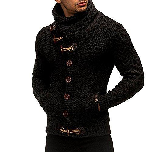 Piebo Herren Strickpullover Klassisch Vintage Stricken Rollkragenpullover Winter Casual Strickjacke Mantel Hoch wertiger Taste Kapuzenpullover Winter Mode Sweater Cardigan Outwear
