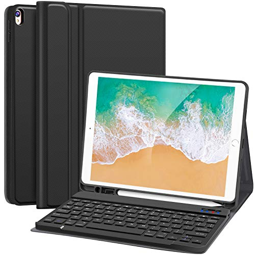 "iPad Keyboard Case for iPad Air 3rd Gen 10.5"" 2019/ iPad Pro 10.5"" 2017 - Magnetically Detachable Wireless Keyboard/Ultra-Slim Multi-Angle Stand Folio Case with Pencil Holder, Black"