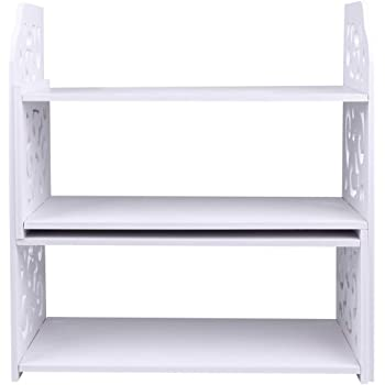 Escritorio Extensible de Madera de bamb/ú estanter/ía Organizador de estanter/ía con 2 cajones estanter/ía para Libros Dancal Mini Organizador de estanter/ía
