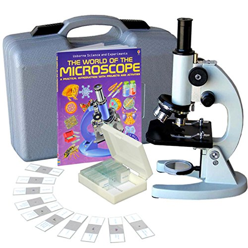 AmScope M60C-ABS-PS25-WM Beginner Microscope Kit, Mirror Illumination, WF10x and WF20x Eyepieces, 40x-1000x Magnification, Includes Case, Set of 25 Prepared Slides, and Book