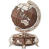 EWA Eco-Wood-Art Modèle de Globe Construire avec boîte secrète 3D mécanique en Bois-Puzzle pour Adultes et Adolescents-Assemblage sans colle-393 pièces, DER GLOBUS Braun, Brun, Naturel