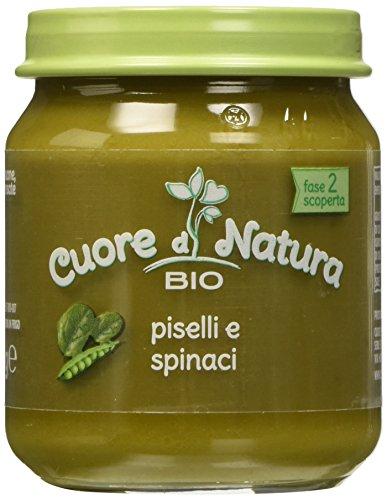 Cuore di Natura - Omogeneizzato Piselli e Spinaci Bio - Confezione da 6 vasetti x 110 g
