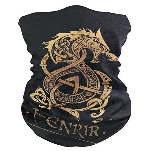 Decopik Face Sun Mask with Nordic Fenrir Wolf Celtic Print, Neck Gaiter Headwear Headband Bandana Magic Scarf