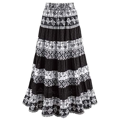 """Women's Tiered Eyelet Maxi Skirt - Black and White Mixed Patterns - 36"""" Long - 3X"""
