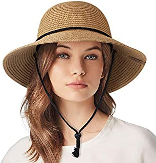 Womens Wide Brim Sun Hat with Wind Lanyard UPF 50 Beach Summer Sun Straw Hats for Women
