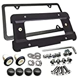 AOOTF Rear License Plate Bracket Frame- Compatible with BMW 1 to 6 Series Mount Tag Holder with Plug-in Expanding Nuts & Carbon Fiber License Plate Frame and Stainless Steel Screw for BMW Screws