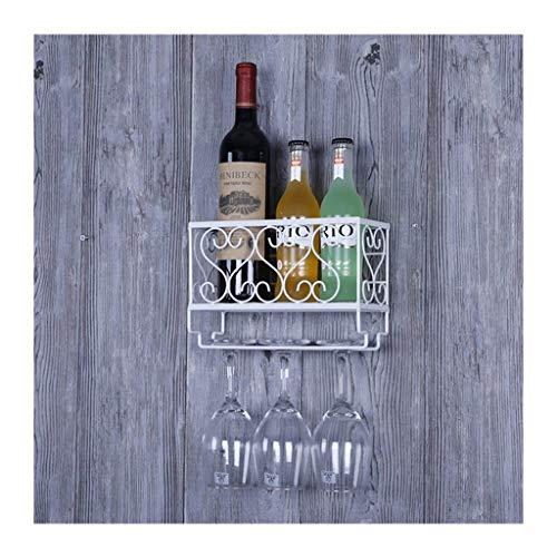 Etagère à bouteille Casier à Vin Loft Étagère Murale Métal Fer Stockage Casiers à Vin Suspendus Bouteille de Vin et Lunettes Titulaire Cadre Vin Casier à Verrière Gobelet Rack Décoration Murale