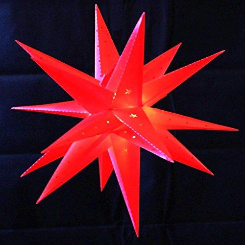 Weihnachtsstern 42cm Rot LED Batterie Adventsstern Außenstern 3D außen Stern Leuchtstern mit Timer