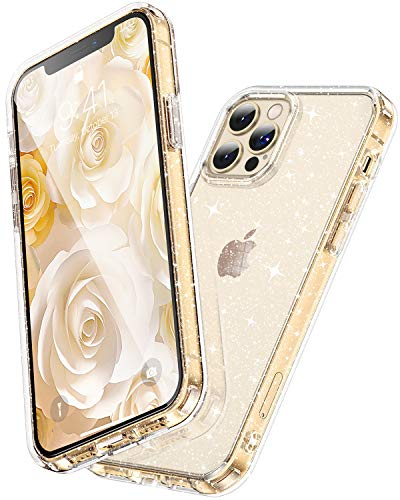 """CASEKOO Crystal Glitter Designed for iPhone 12 Pro Max Case, [Yellow Resistant] Bling Clear & Shockproof Protective Sparkle Phone Cover Thin Slim Case for Women & Girls (6.7"""") 2020- Twinkle Stardust"""