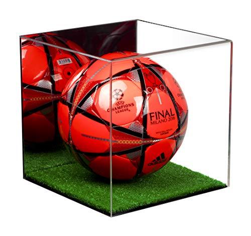 Better Display Cases Fußball-Vitrine aus Acryl in voller Größe mit Spiegel und Rasenboden (A007-MTB)