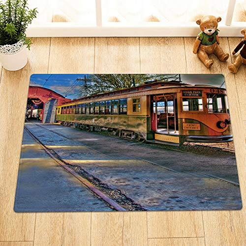 HYTCV Antique car track Digitally printed bathroom mat living room bedroom kitchen soft and comfortable