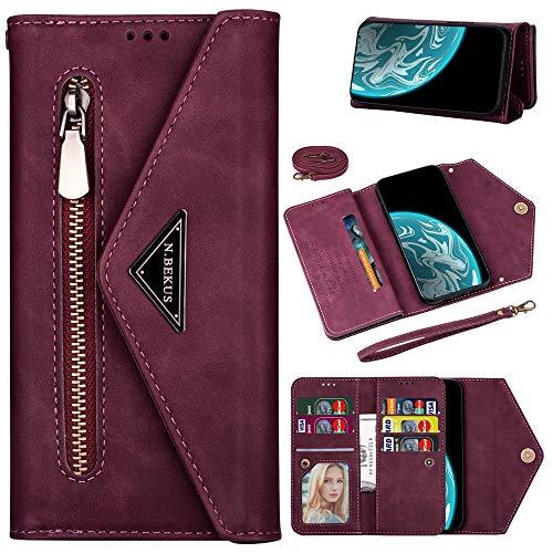 Capa carteira XYX para Samsung S10, Galaxy S10 com compartimento para cartão de crédito, alça transversal, alça de couro com zíper para Samsung S10 – Vinho