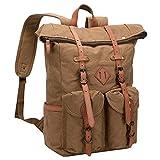WITZMAN Mens Canvas Backpack Vintage Laptop Bags Hiking Travel Rucksack (W0102 Khaki)