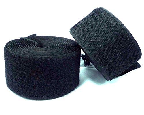 Klettverschlussband zum Aufnähen, schwarz, 5cm (50mm) width