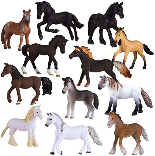 Liberty Imports Set of 12 Deluxe Horse Figurines for Kids - Realistic Toy Pony Figures Bulk Animal Variety Cake Toppers Gift Pack