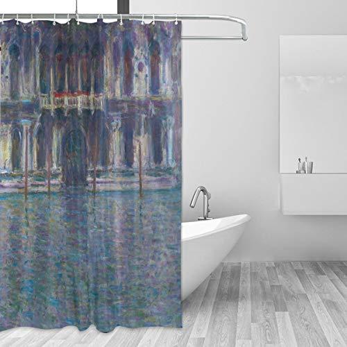 Ahomy Duschvorhang Monet \'s Palazzo Contarini Bad Vorhang Wasserdicht Polyester-Mildewproof-3D, Bedruckte Duschvorhang 12Haken Sichtschutz Home Badezimmer 182,9x 182,9cm