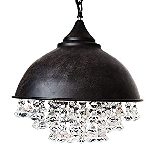 """Vintage Industrial Crystal Pendant Light - MKLOT Retro Edison Style Ceiling Light 14"""" Wide Rust Wrought Iron Hanging Lamp Chandelier with Shaded Glittering Crystal Beads for Kitchen Island Loft"""