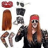 Rockstar 70s 80s Heavy Metal Disco peluca Accesorios de traje Cruz Pulida Colgante Collar Largo Rizado Sombrero Gafas de sol Negro Rocker Costume Peluca Rocker Accesorios de disfraces