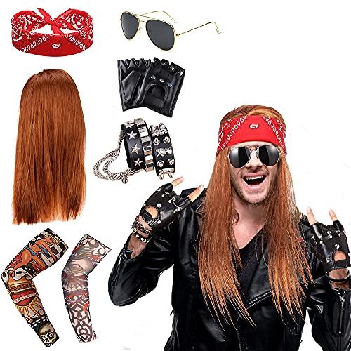 Rockstar 70er 80er Jahre Heavy Metal Disco Perücke Kostüm Accessoires Poliert Kreuz Anhänger Halskette Lange Lockige Hut Sonnenbrille Schwarz Rocker Kostüm Perücke Rocker Kostüm Zubehör