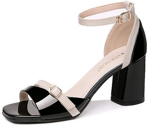 LTN Ltd - sandals Un Mot Ceinture Sandales Femmes épais avec des Bas épais de la Mode Estivale Chaussures à Talons Hauts des Femmes des Chaussures Romaines, Noir, 36