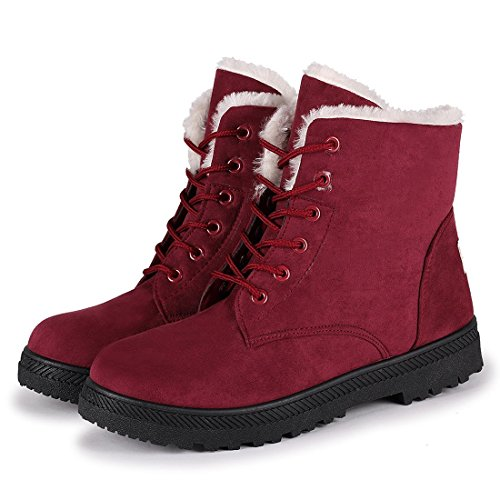 Womens Snow Boots for Winter Ankle Boots Combat Walking Shoes Booties red Size 11
