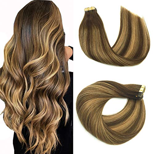 Tape in Hair Extensions Remy Hair, Natural Human Hair Extensions Tape in Chocolate Brown mixed Caramel Blonde,Human Hair Glue In Extensions Balayage 24inch 50g20pcs, hotbanana(#4/27/4)
