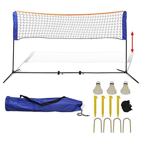 lingjiushopping Badminton-Netz mit Rüsche 500x 155cm weiß und blau matt ¨ ¦ Riau des Rahmens: Stahl