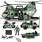JOYIN 10-in-1 Jumbo Military Transport Helicopter Toy Set Including Helicopter with Realistic Light & Sound, Military Truck, Kayak boat, Motorcycle, Army Men Action Figures and Weapon Gear Accessories