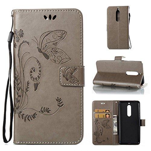 pinlu Flip Cover per Nokia 5 Alta qualità Portafoglio in Artificiale Pelle Colorata Luminoso Coperture Eleganti del Telefono Farfalla Erba Grigio