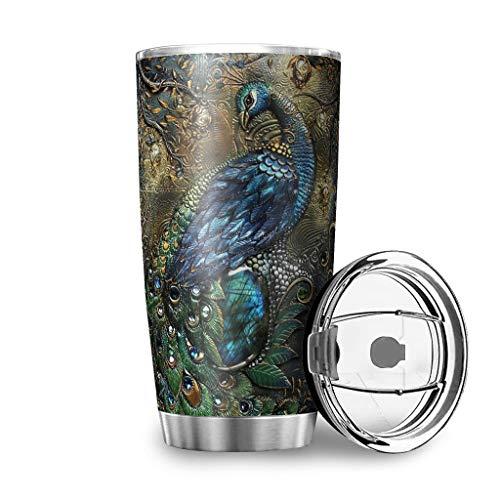 Yrgdskuvle Taza térmica de café de pavo real en relieve 3D, de doble pared, de acero inoxidable, a prueba de fugas, reutilizable, para llevar al aire libre, con tapa, utilizable para blanco, 600 ml