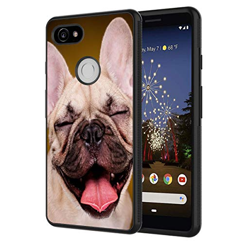 Google Pixel 2 Case,Happy French Bulldog Puppy Anti-Scratch Shockproof Black Silicone Rubber TPU Protective Case Cover for Google Pixel 2 (2017 Release)
