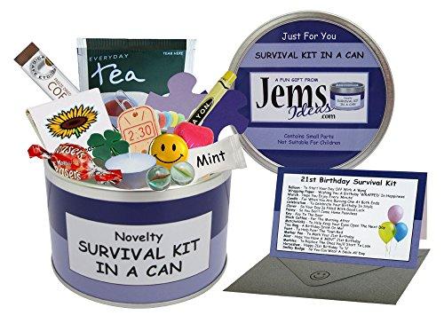 Überlebens-Set für den 21. Geburtstag in der Dose.Lustiges Geschenk und Grußkarte in einem, zum 21. GeburtstagFarbliche Personalisierung der Dose möglich. Violett / fliederfarben