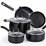 Cook N Home 024978Piece Heavy Gauge antiadherente utensilios de cocina Set, Color negro