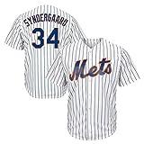 Syndergaard Baseball Shirt New York Mets # 34, Camiseta de béisbol con Estampado para Hombre, Camiseta de Manga Corta con Botones de Uniforme del Equipo (M-XXXL)-White-M