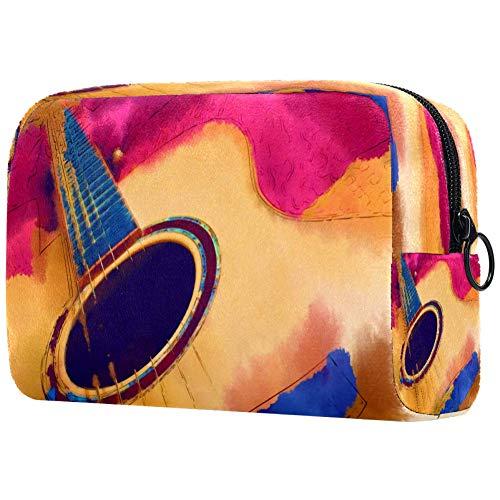 Bolsa de maquillaje con pintura de estilo acuarela de una guitarra acústica, bolsa de maquillaje, organizador para viajes, neceser portátil, para niñas, mujeres
