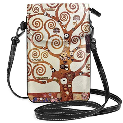 WAUKaaa Tree of Life by Gustav Klimt Leather Cell Phone Purse Holder Wallet Functional Multi Pocket for Women