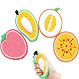 Esponja de baño suave para bebés, 4 piezas de cepillo de ducha con forma de fruta, cepillos para niños, cepillo de limpieza para platos de cocina