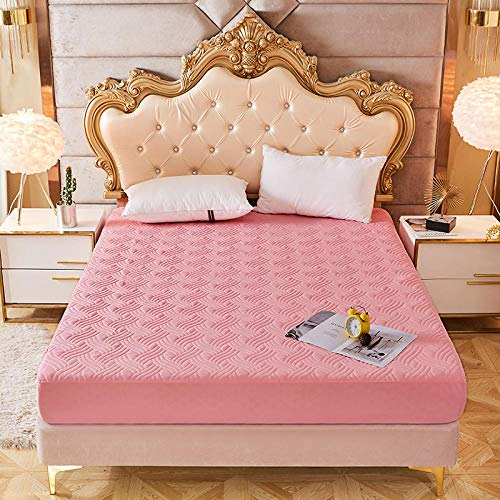 GTWOZNB Premium Microfibre Fitted Bed sheet single piece protective cover thickened-pink_100*200cm