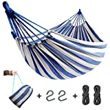 QIFBYFB Hammock, Portable 2-Person Brazilian Style Hammock Double Outdoor/Indoor Cotton Canvas Hammock Thickened Durable Fabric with 550lb Load Capacity, for Travel, Beach, Backyard, Camping etc