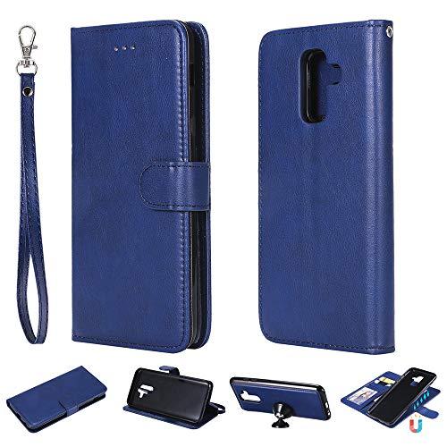 Capa carteira XYX para Galaxy A6 Plus, 2 em 1 de couro PU com capa fina removível para celular Samsung Galaxy A6 Plus (azul)