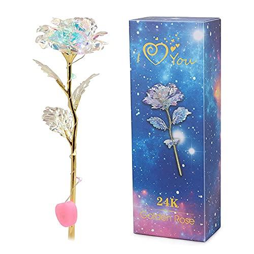 Deer Platz Lámina Oro Rosa Artificial Flores, Rosa 24 K Chapado en Oro Rosa Flor, con luz LED, para el día San Valentín, Día la Madre Cumpleaños