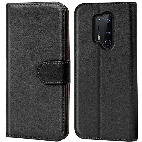 Verco OnePlus 8 Pro Hülle, Handyhülle für OnePlus 8 Pro Tasche PU Leder Flip Hülle Brieftasche, Schwarz