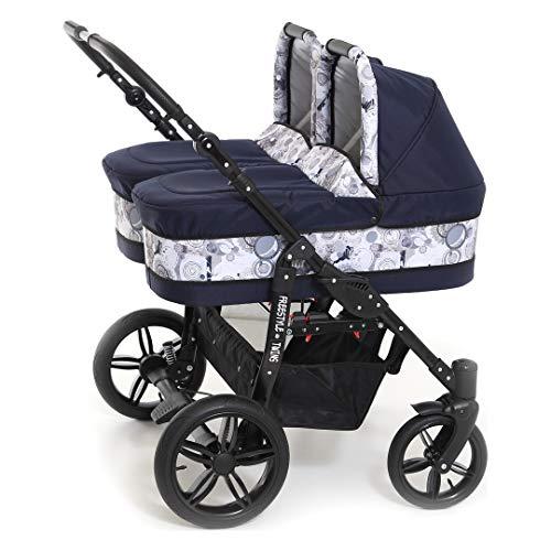 BBtwin - Passeggino gemellare trio. Passeggini + navicelle + ovetti+ sacchi polari + accessori. Lino blu navy.