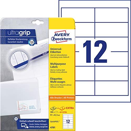AVERY Zweckform 4781 Adressaufkleber (300 plus 60 Klebeetiketten extra, 97x42,3mm auf A4, Papier matt, bedruckbare Absenderetiketten, selbstklebende Adressetiketten mit ultragrip) 30 Blatt, weiß